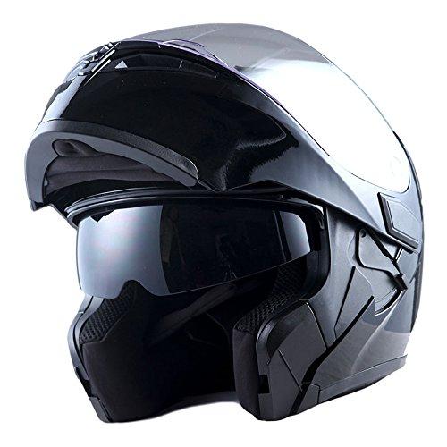1Storm Motorcycle Modular Full Face Helmet Flip up Dual Visor Sun Shield: HB89 Glossy Black