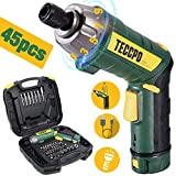 Cordless Screwdriver, 6Nm TECCPO Electric Screwdriver, 4V 2000mAh Li-ion, with 45 Free Accessories, 9+1 Torque Gears, Adjustable 2 Position Handle with LED, USB Rechargeable - TECCPO TDSC01P
