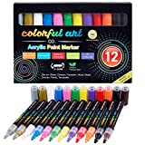 Paint Pens - 12 Premium Acrylic Paint Pens & Rock Painting Kit for Painting Rocks, Pebbles, Glass, Ceramic, Wood, Porcelain Permanent Water Based Waterproof Paint Marker Pens with 3-5mm Reversible Tip