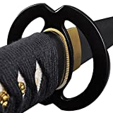 Handmade Sword - Japanese Samurai Katana Swords, Functional, Hand Forged, 1045 Carbon Steel, Clay Tempered, Damascus, Full Tang, Sharp, Musashi Tsuba, Black Wooden Scabbard, Sword Certificate