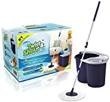 Twist and Shout Mop - 2019 Edition - Award-Winning Original Hand Push Spin Mop - Life Time Warranty (2 Microfiber Mopheads Included)