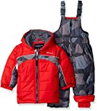 London Fog Baby 2 Piece Camo Snow Pant Set With Jacket, Red, 12 Months