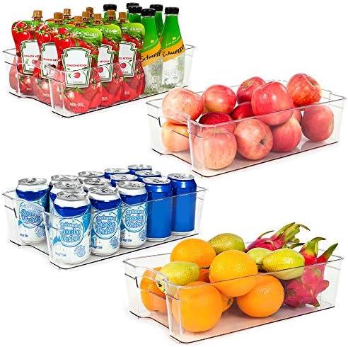 Refrigerator Organizer Bins, Vtopmart 4 Pack Large Clear Plastic Food Storage Bin with Handle for Freezer, Cabinet, Fridge, Kitchen Pantry Organization and Storage, BPA Free, 14.5″ Long