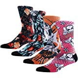 Novelty Crazy Skull Socks for Men, MEIKAN Wild Weird Fun Colorful Skeleton Patterned Fancy Socks ,4 Pairs Color 9,One Size
