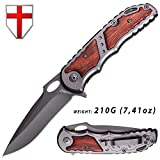 Knife - Folding Knife - EDC and Tactical Pocket Knife Stainless Steel Blade with Wooden Handle and Metal Clip - Best Hunting Knife - Grand Way 97010