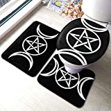 Triple Moon Pentacle Pagan Soft Home Collection 3 Piece Bath Rug Set,Flannel Soft Absorbent Bathroom Rug Set Non-Slip with Rubber Backing