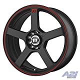 Motegi Racing MR116 Matte Black Wheel With Red Racing Stripe (16x7'/5x108, 114.3mm, +40mm offset)