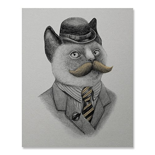 Dapper Mustached Cat Art Print Funny Vintage Persian Siamese Kitten Feline Animal Lover Poster Bowler Hat Tie Suit Home Decor 8 x 10 Inches