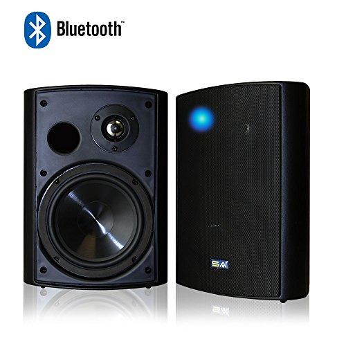 Bluetooth 6.50' Indoor/Outdoor Weatherproof Patio Speakers, Wireless Outdoor Speakers (Black- pair),by Sound Appeal