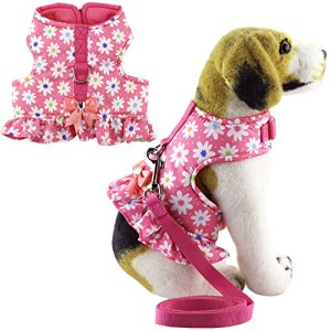 Bolbove Pet Lovely Flower Dots Vest Harness and Leash Set for Cats Dogs Pink
