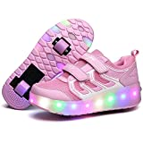 FG21ds21g LED Light Up Single/Double Wheel Roller Skate Shoes for Boys Girls Kid(Pink 2 Wheel 32 M EU/1 M US Little Kid)