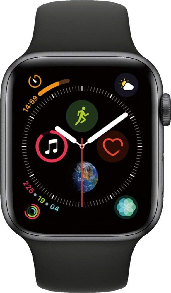 Apple Watch Series 4 (GPS, 40MM) - Space Gray Aluminum Case with Black Sport Band (Renewed)