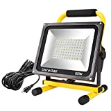 Ustellar 5500LM 55W LED Work Light (400W Equivalent), 2 Brightness Levels, Waterproof Portable Flood Lights, 16ft/5M Cord with Plug, Stand Working Lights for Construction Site, 6000K Daylight White