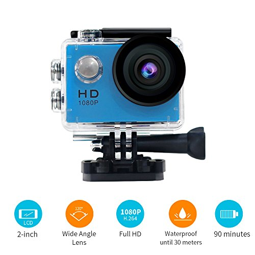 YUNTAB Sport Action Camera/Vlog DV, HD 1080P 2.0 inch, 5MP, 120°Wide-Angle, 30m Underwater Waterproof Camcorder(Blue)