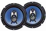 Pyle 6.5'' Three Way Sound Speaker System - Round Shaped Pro Full Range Triaxial Loud Audio 360 Watt Per Pair w/4 Ohm Impedance and 3/4'' Piezo Tweeter for Car Component Stereo PL63BL
