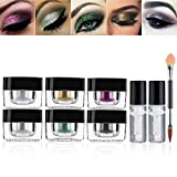 Glitter Eyeshadow Palette, PIXNOR 6 Colors Highly Pigmented Eye Glitter with Gel and Brush for Party Festival Eyeshadow, Makeup, Nail Art