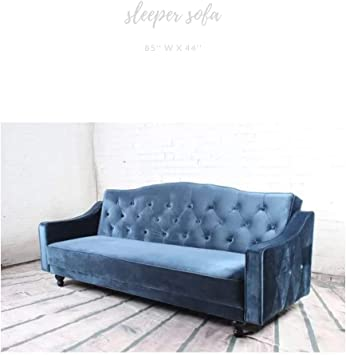 Take Me Home Furniture Theodora Sofa Bed In Blue Velvet Seat For 3 Persons Wood Legs Upholstery Living Room Couch Sleeper Sofa Amazon Ca Home Kitchen