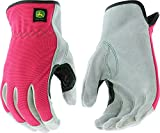 West Chester John Deere JD00016 Split Cowhide Leather Palm Work Gloves: Pink, Women's Small/Medium, 1 Pair