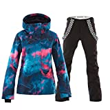 Mous One Women's Waterproof Ski Jacket Colorful Snowboard Jacket and Black Bib Pant Suit(M)