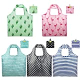 Foldable Reusable Grocery Bags set Cute Designs Folding Shopping Tote Bag with Pocket Pink Green Black Blue Teal Gift Bags Reusable Bag with Pouch Reusable Fabric Bags