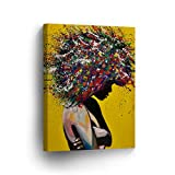 African American Wall Art Afro Hair Woman Splash Style CANVAS PRINT Yellow Decor Oil PaintHome Décor Wall Decoration Artwork Wrapped Framed Ready to to Hang - %100 Handmade in the USA - 12x8