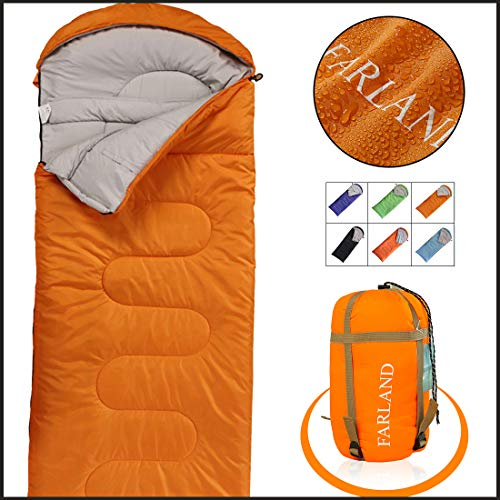 FARLAND Camping Sleeping Bag-Envelope Mummy Outdoor Lightweight Portable Waterproof Perfect for 20 Degree Traveling,Hiking Activities(Orange/Right Zip, Rectangular)
