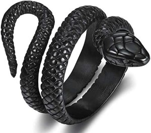 Stainless Steel Retro Vintage Snake Stye Cocktail Party Statement Biker Ring