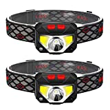 TINMIU 2-Pack Rechargeable Headlamp Flashlight, 800 Lumens Motion Sensor Head Lamp, IPX4 Waterproof, Bright White Cree Led & Red Light, Perfect for Running, Camping, Hiking & More.