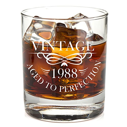 1988 30th Birthday Lowball Whiskey Glass For Men And Women