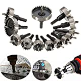 "DRILLPRO 13Pcs Hole Saw Kit, HSS Drill Bit Hole Saw Bit Set for Metal, Stainless, 5/8""- 2 1/9"""
