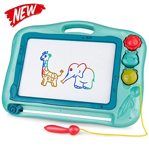 Gamenote Magnetic Drawing Board for Kids 12×16 inch - Doodle Board for Toddlers Comes with Adorable 3 Stamps, Magnet Pen, Gifts for Toddlers Kids Colorful Erasable Magnet Writing Sketching Pad (Blue)
