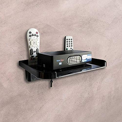 Digway Set Top Box Stand with Double Remote Holder(Black)- Pack of 1 5