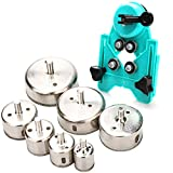Hole Saw Set,7Pcs Diamond Drill Bits with Hole Saw Guide Jig Fixture, 1/1.2/1.6/2/2.4/2.8/3.15 inch Coated Core Drill Bits, Adjustable Hole Saw Centering Locator Suction Holder for Glass,Ceramics,Tile