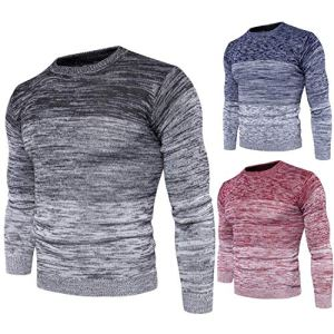 YDesg Men's Gradient Color Round Neck Sweater Fashion Men's Cotton Sweater Men's Autumn and Winter Long-Sleeved