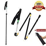 CLINE Travel Folding Trekking Hiking Pole with Carrying Case,Collapsible Cane Adjustable Walking Stick Portable Mobility Aid for Women Men Hikers Gift,Black (Black) (bk)