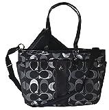 Coach Metallic Multifunction Baby Diaper Laptop Travel Convertible Messenger Shoulder Tote Bag Black