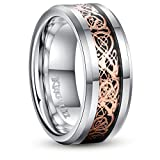 King Will DRAGON 8mm Rose Gold Plated Celtic Dragon Tungsten Carbide Wedding Band Ring Comfort Fit 10