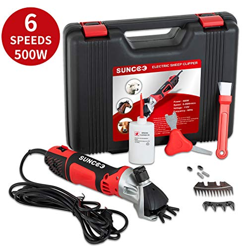 SUNCOO 500W Sheep Shears 6 Speeds Portable Electric Clippers Heavy Duty Professional Grooming Shearing Trimmer 110V for Goat Llama Horse and Other Farm Livestock Furry Pet with Carrying Case