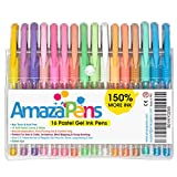 Gel Pens for Adult Coloring Books, Pastel Colors, 150% More Ink for Arts, Crafts & Writing Best Value Professional Quality Colored Pens (16 Pastel)