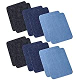 Iron On Denim Patches for Clothing Jeans 12 PCS, 3 Colors (4.9' X 3.7')