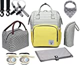 Diaper Bag Set, 8-in-1 Baby Care Backpack for Mom Dad Nappy Bag (Yellow-Gray)