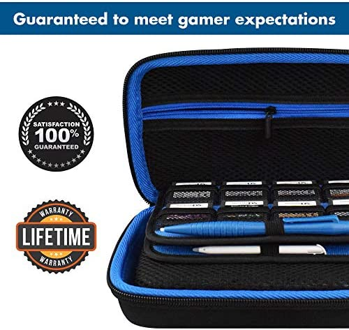 TAKECASE Hard Shell Carrying Case - Compatible with Nintendo 3DS XL and 2DS XL - Fits 16 Game Cards and Wall Charger - Includes Removable Accessories Pouch and Extra Large Stylus Dark Blue