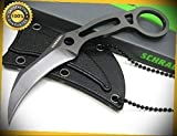 Tactical Karambit Straight Fixed Full Tang Neck Sharp Knife with Sheath SCH111 perfect for outdoor camping hunting