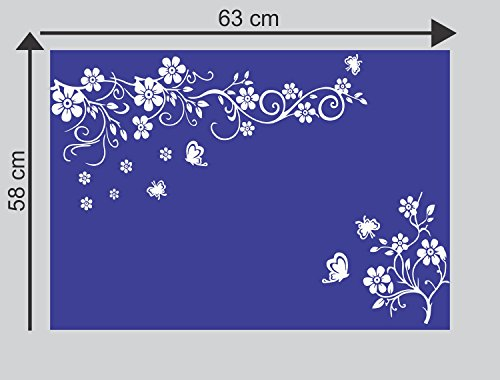 Sticker Studio Flower with Butterfly Wall Stickers for Living Room, Bedroom, Office (Vinyl, Standard, White) 3
