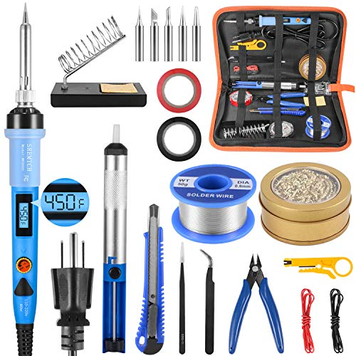 Electronics-Soldering-Iron-Kit-80W-LCD-Digital-Soldering-Gun-with-Adjustable-Temperature-Controlled-and-Fast-Heating-Ceramic-Thermostatic-Design-ON-Off-Switch-20pcs-Solder-Kit-and-Welding-Tool