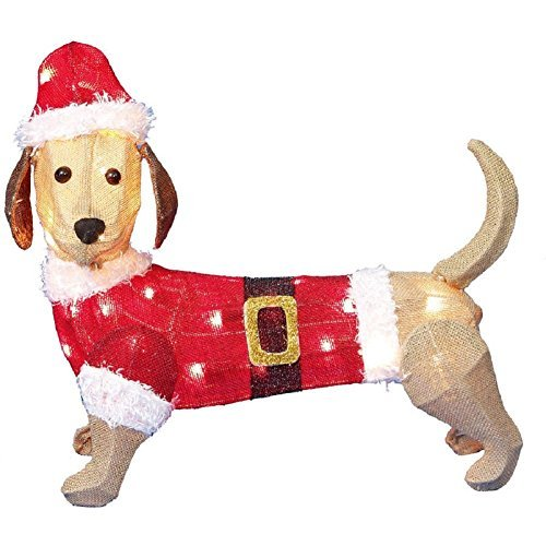 Holiday House Burlap Dachshund with Santa Suit and Hat