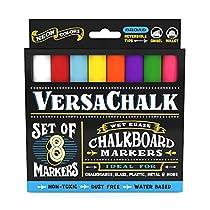 Liquid Chalk Markers by VersaChalk - Non Toxic Wet Erase Chalkboard Window Glass Pens (Fine Classic Colors Set)