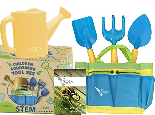 Kids Garden Tools with STEM Learning Guide by ROCA Toys. Tote Bag, Watering Can, Shovel, Rake and Trowel - Summer Toys