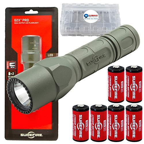 SureFire G2X Pro 600 Lumen Tactical EDC Flashlight Bundle with 4 Extra SureFire CR123A Batteries and Lightjunction Battery Case (Green)