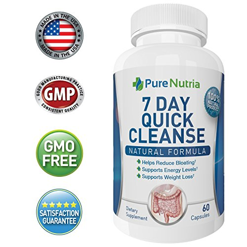 7 Day Quick Colon Cleanse Detox for Weight Loss - Extra Strength Gut Cleanser - Give Your System A Digestive Refresh, Reduce Bloating and Increase Energy Levels - Fast Acting - 60 Capsules